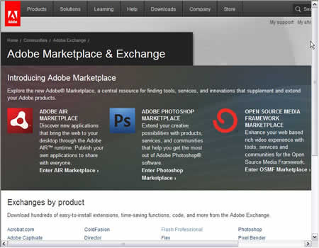 Adobe Maketplace & Exchange