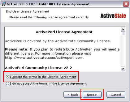 ActivePerl License Agreementが表示される